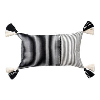Guatemalan Black and White Striped Pillow With Pom-Pom Tassels For Sale