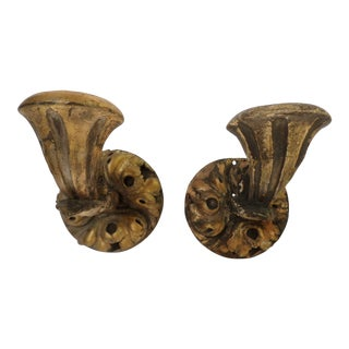 Italian Carved Giltwood Sconces, a Pair For Sale