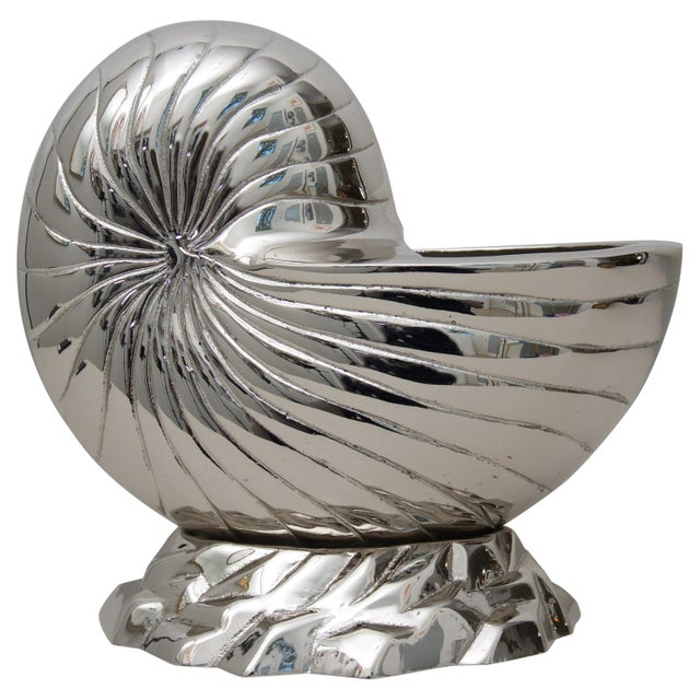 Nickle Plated Nautilus Shell Cachepot For Sale In West Palm - Image 6 of 6