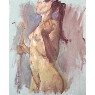 "Peter Oil Painting ""Woman With Staff 1 "", Contemporary Nude Figure For Sale"