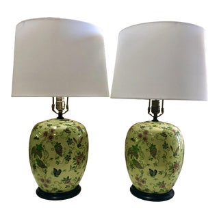 Lime Chinese Jars Lamps, Pair For Sale