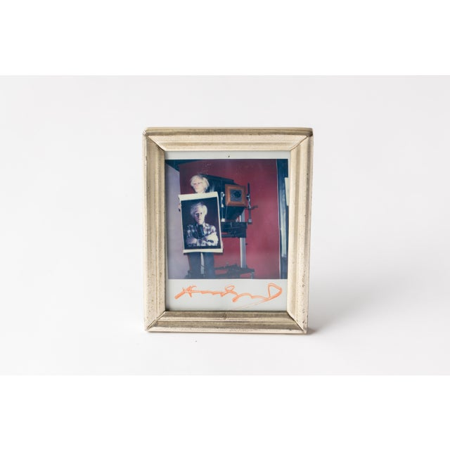 Polaroid of Andy Warhol Holding Polaroid by Bill Ray Signed Andy Warhol For Sale - Image 10 of 11