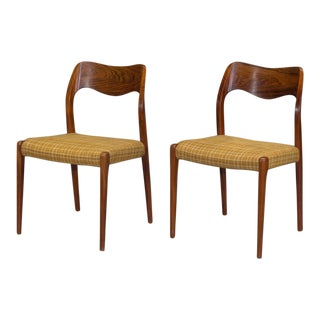 Niels Otto Møller Danish Modern Model 71 Rosewood Dining Chairs - a Pair