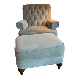 Transitional Ethan Allen Chair and Ottoman - 2 Pieces For Sale