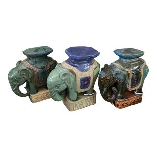 Terracotta Elephant Stands Collection - Set of 3 For Sale