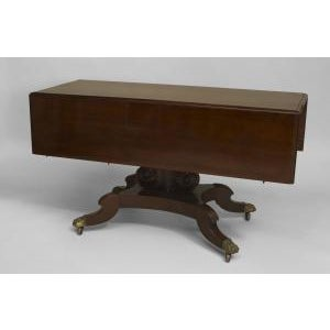 American Empire style (late 19th Cent) mahogany dining table with 4 lyre carved pedestal bases on 4 brass claw feet (2...