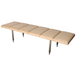 Milano Custom Metal Bench With Leather Seat For Sale