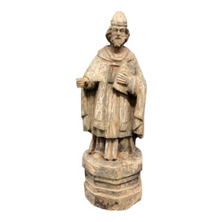 19th Century Carved Wood Religious Saint Augustine Scuplture For Sale