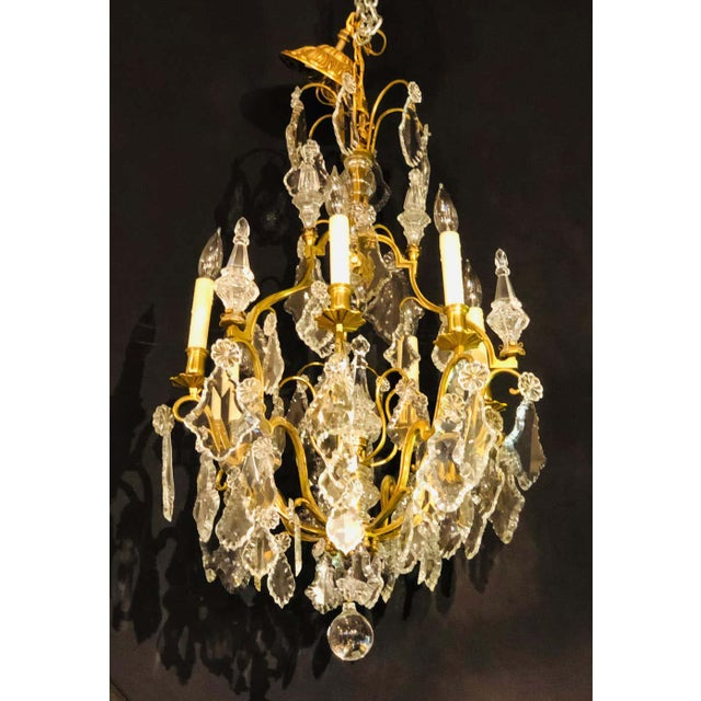 French Bronze and Crystal Gilt Chandelier, Louis XVI Style For Sale In New York - Image 6 of 13