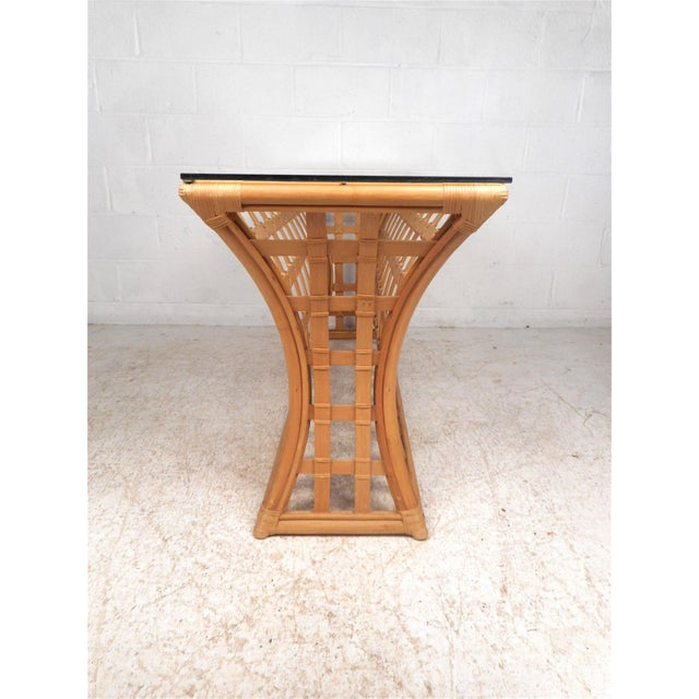 Vintage Modern Bamboo and Glass Console Table For Sale - Image 4 of 12