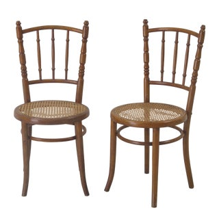 Early 20th Century Vintage Thonet Style Bentwood Caned Chairs- A Pair For Sale