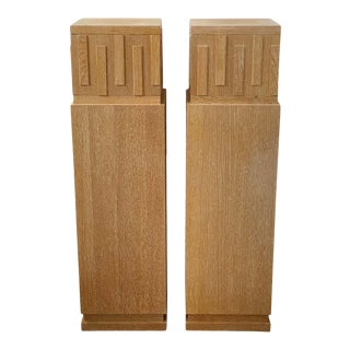 "48"" Art Deco Style Cerused Oak Pedestals - a Pair For Sale"