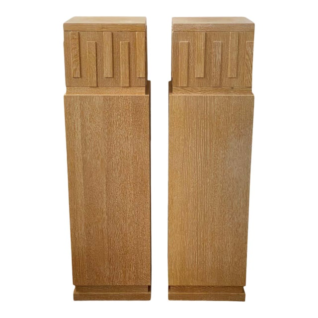 """48"""" Art Deco Style Cerused Oak Pedestals - a Pair For Sale"""