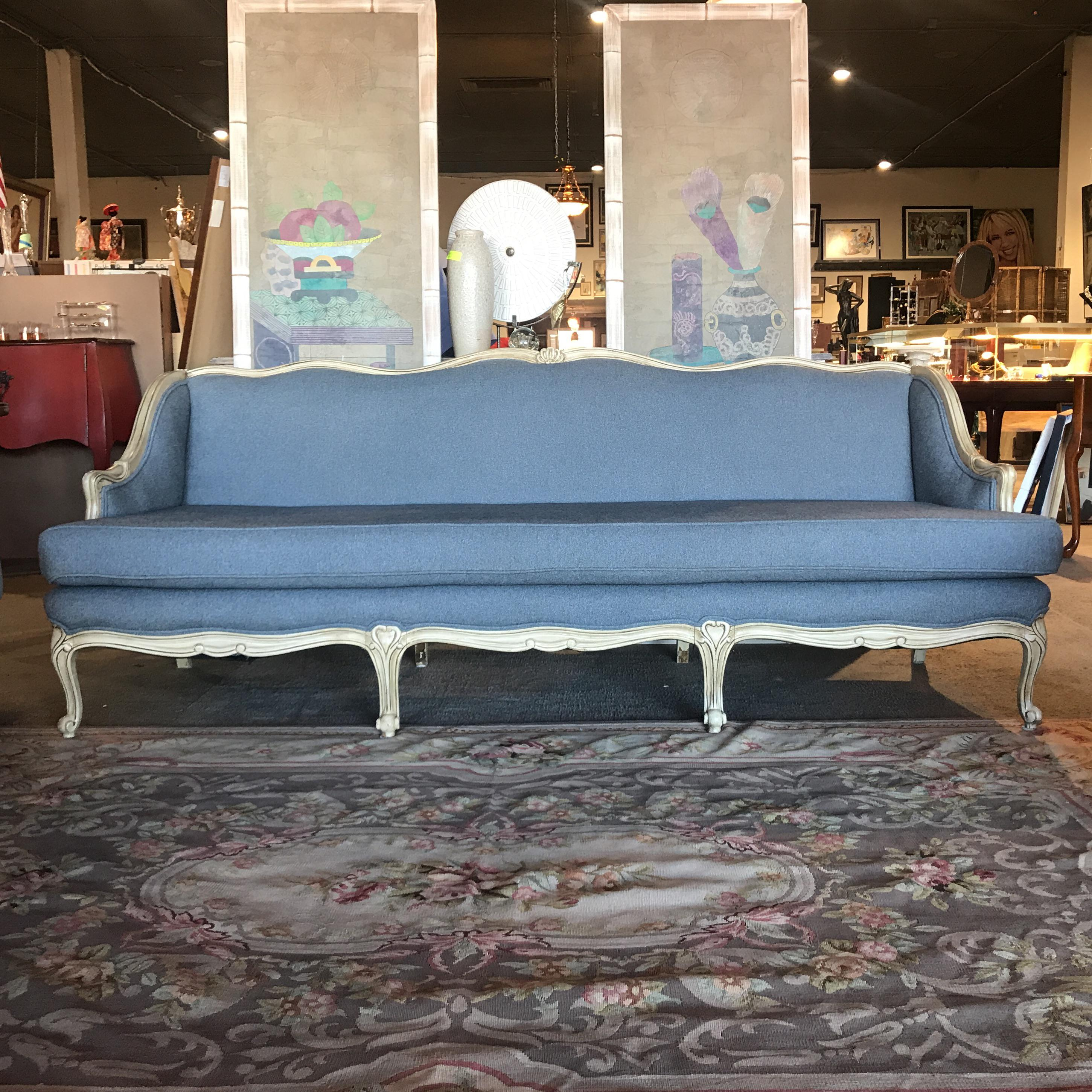 Vintage Shabby Chic French Provincial Sofa   Image 2 Of 6