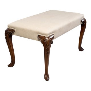 English Bench With Carved Mahogany Legs and Belgian Linen Upholstery For Sale