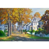Image of J. Holloway Street Scene at Sunset Impressionist Painting For Sale