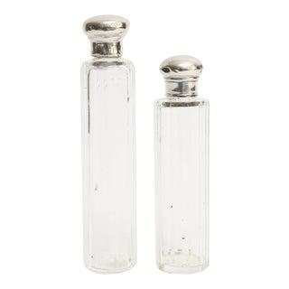 Antique Sterling & Crystal Perfume Bottles, Set of 2 For Sale