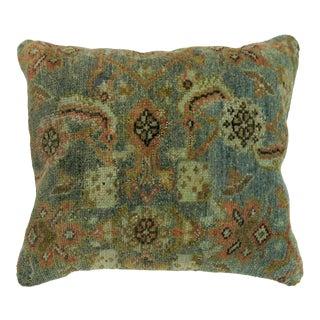 Aqua Blue Terracotta Antique Rug Pillow For Sale
