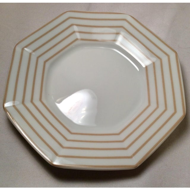 "Tan 1978 Fitz & Floyd Vintage China Table Service in Pinstripe ""Buff""-New/Old Stock, Set of 24pcs (8settings) For Sale - Image 8 of 13"
