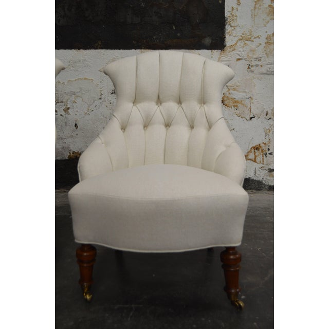 French Pair of Vintage Swedish Emma Tufted Slipper Chairs, circa 1900's For Sale - Image 3 of 11