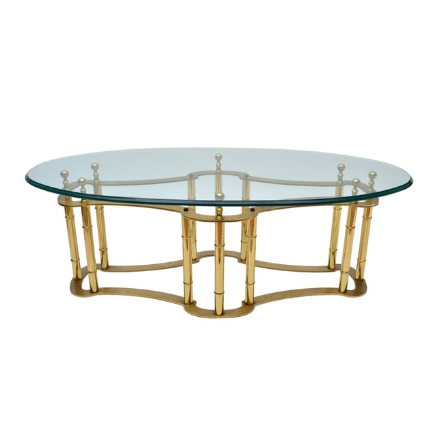Mastercraft Brass Coffee Table with Oval Glass Top For Sale - Image 10 of 10