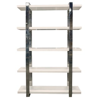 Polished Steel & White Veneer Shelving Unit