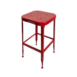 Vintage Cherry Red Iron Stool For Sale