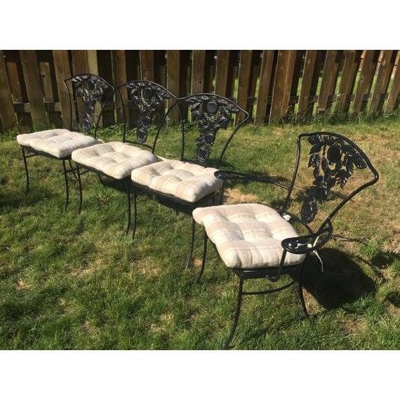 Vintage Woodard Patio Furniture Patterns.Vintage Woodard Wrought Iron Patio Set Pomegranate Pattern Table 4 Chairs