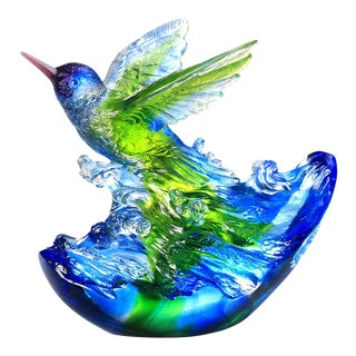 """Liuli Crystal Art Crystal Hummingbird, """"Victory by Daybreak"""" Sculpture (Limited Edition) For Sale"""