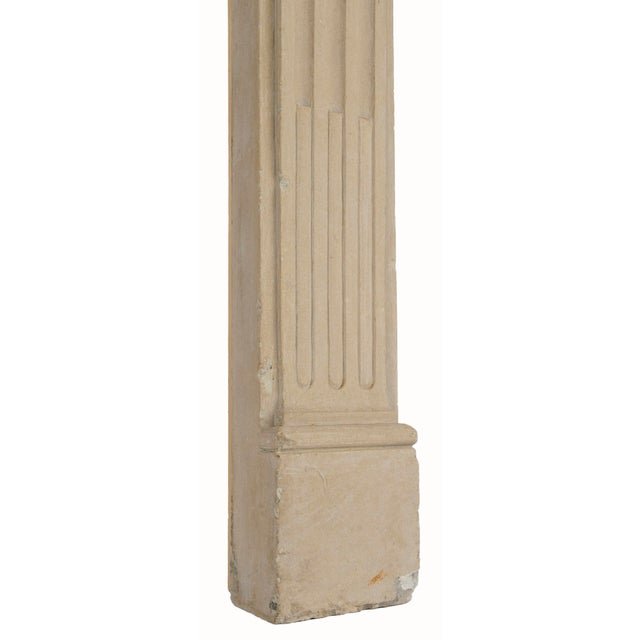 French French Louis XVI Limestone Fireplace Surround For Sale - Image 3 of 4
