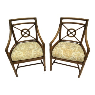 1980s Contemporary McGuire Rattan Armchairs - a Pair