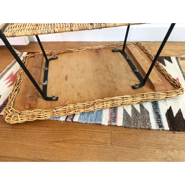 Mid Century Rectangular Wicker Side Table on Iron Frame For Sale - Image 10 of 11