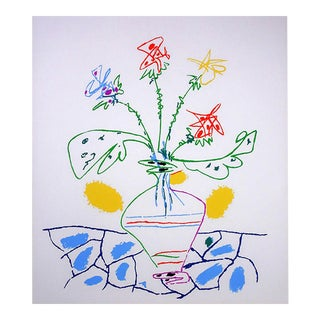 1960s Vintage Pablo Picasso Flowers for Ucla Color Lithograph For Sale