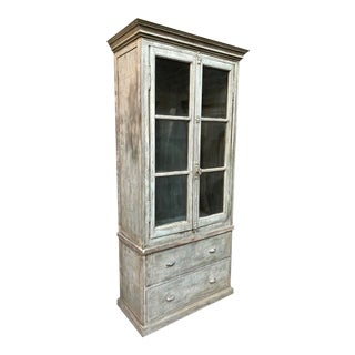 Vintage French Painted Bookcase With Window Doors For Sale