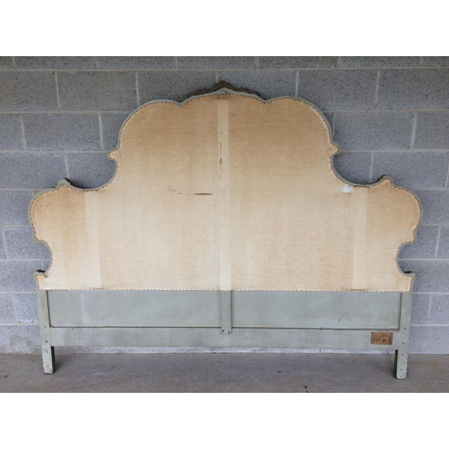 Metal Richard Wheelwright Padded King Size Hand Carved Headboard For Sale - Image 7 of 9
