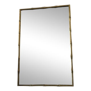 Vintage Hollywood Regency Faux Bamboo Brass Wall Mirror For Sale