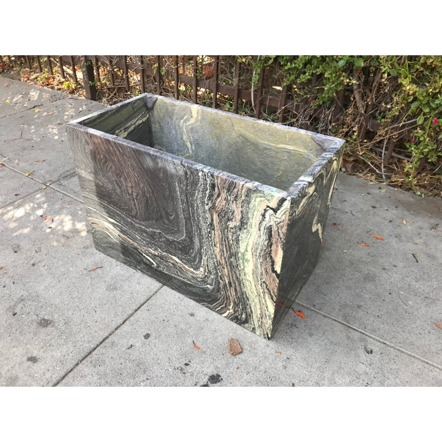 Stone 1970s Organic Modern Solid Black & Cream Marble Coffee Table For Sale - Image 7 of 10