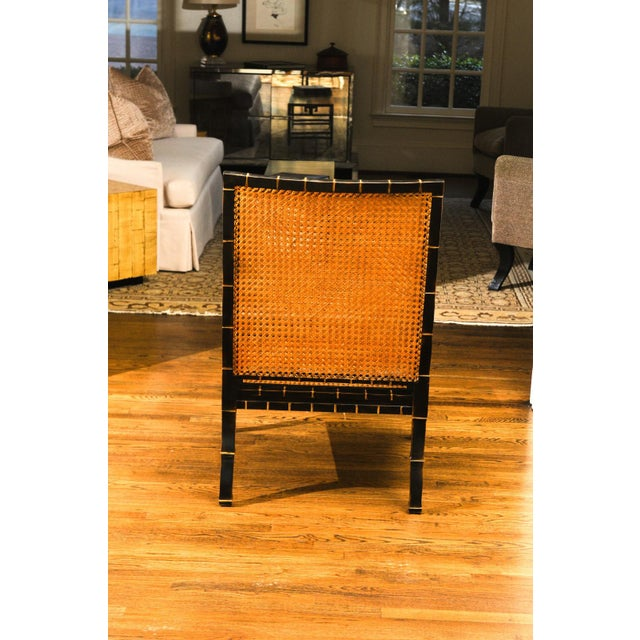 Mid-Century Modern Beautiful Restored Pair of Large-Scale Double-Sided Cane Club Chairs For Sale - Image 3 of 9