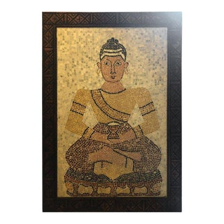 Micro Mosaic Tile Wall Plaque or Table Top of a Seated Woman in Wood Frame For Sale