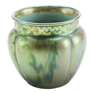 1930s Vintage Zsolnay Lobed Vase in Eosin Glaze For Sale