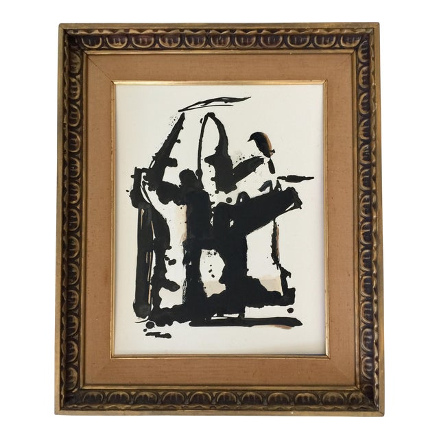 Abstract Black and White and Sienna Ink Painting For Sale