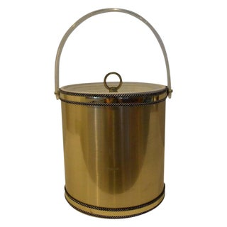 Mid Century Modern Hollywood Glam Georges Briard Brushed Brass & Lucite Covered Ice Bucket