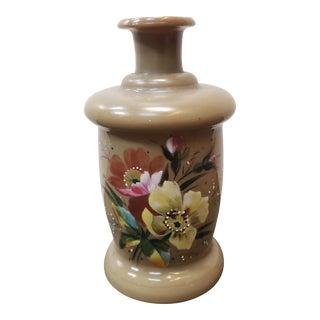 Late 19th Century English Victorian Bristol Glass Hand Painted Floral Motif Bottle Vase For Sale