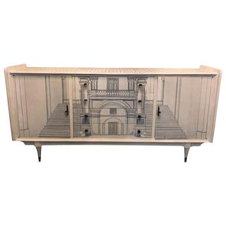 Mid-Century Modern Sideboard Architecturally Decorated & Painted For Sale