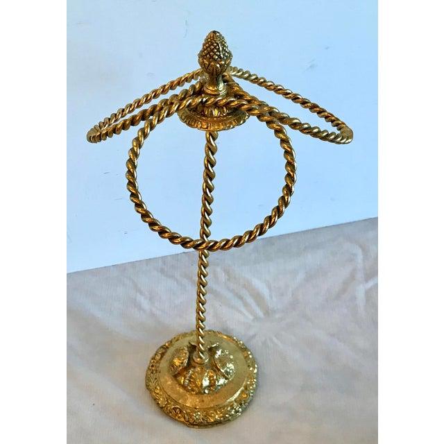 Hollywood Regency Vintage Hollywood Regency Style Gold Metal Hand Towel Holder For Sale - Image 3 of 7