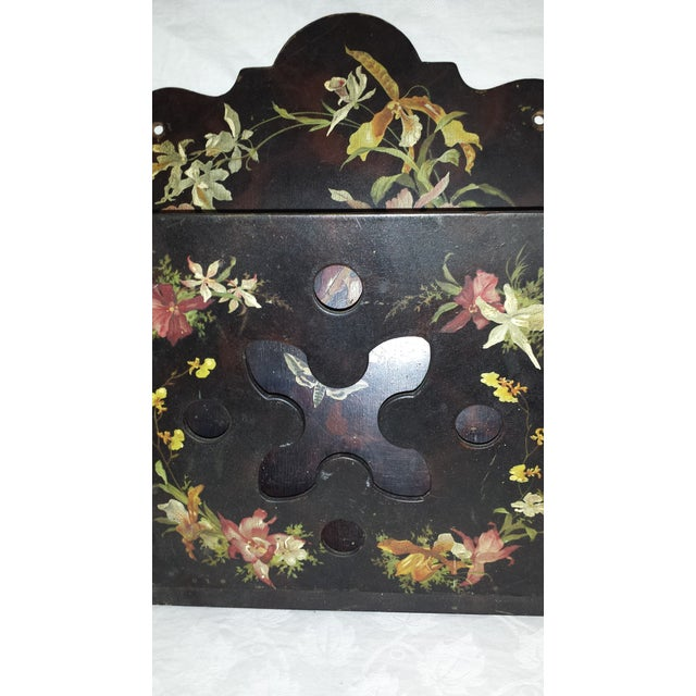 Victorian Tole Painted Papier Mache Wall Mounted Letter Holder For Sale In Sacramento - Image 6 of 8