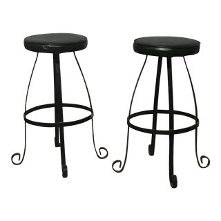 Black Iron Art Deco Bar Counter Stool- a Pair For Sale