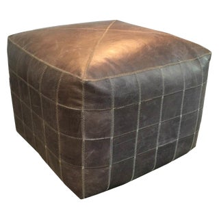 Square Grey Patchwork Ottoman For Sale