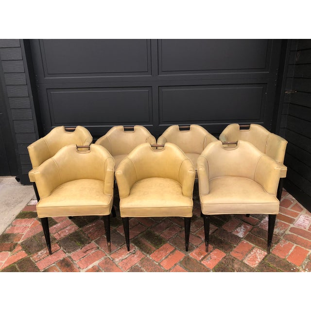 1950's Vinyl English Pub Club Chairs - Set of 7 For Sale - Image 9 of 9