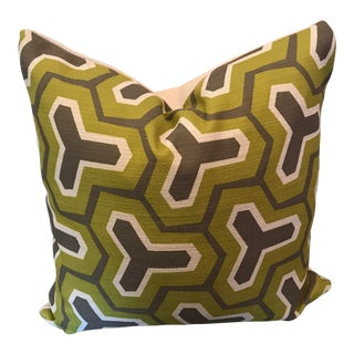 Custom Woven Printed Front Pillow With Woven Solid Reverse Side For Sale